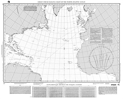 Amazon Com Nga Chart 17 Great Circle Sailing Chart Of The North Atlantic Ocean Sports Outdoors