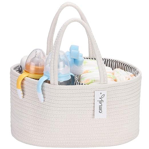 bolsa de almacenamiento para beb/é Hinwo Organizador de pa/ñales para beb/é con 3 compartimentos cuerda de algod/ón con separador desmontable cesta de regalo para reci/én nacidos organizador de coche