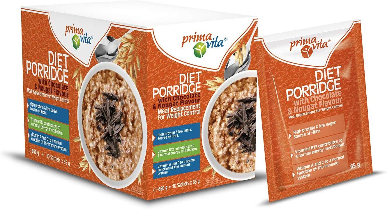 Primavita - Gachas de avena dietéticas sustitutivas de comidas, sabor a turrón de praliné, 65 g: Amazon.es: Salud y cuidado personal