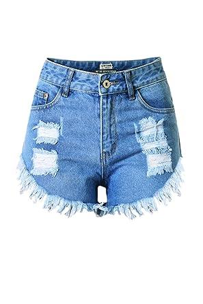 Zojuyozio Las Mujeres Verano Denim Shorts De Cintura Alta ...