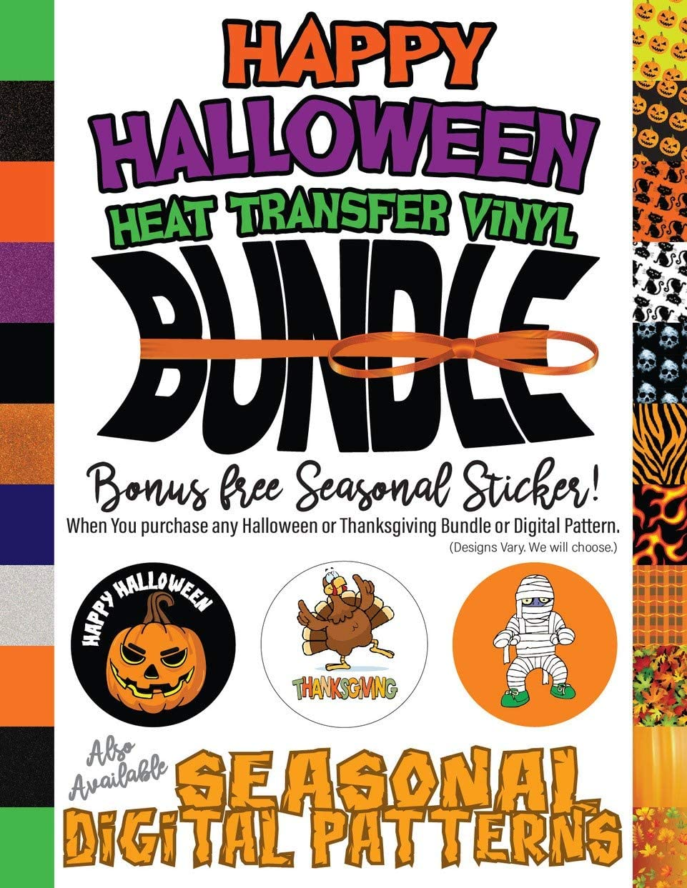 Pumpkin Extreme Film 15 Holiday Digital Pattern Heat Transfer Vinyl 1 Yard