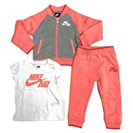 Nike Air Toddler Girl 3 Piece Sweater Shirt Sweatpants, Sunblush