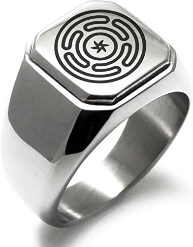 Stainless Steel Hecate Goddess of Magic Symbol Square Biker Style Signet Ring