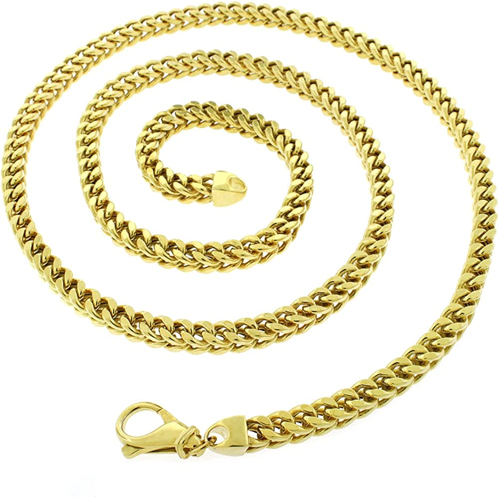 18K Yellow Gold Plated Light-Weight 925 Necklace Chain 22-40 Sterling Silver 6.5mm Hollow Franco Square Box Link