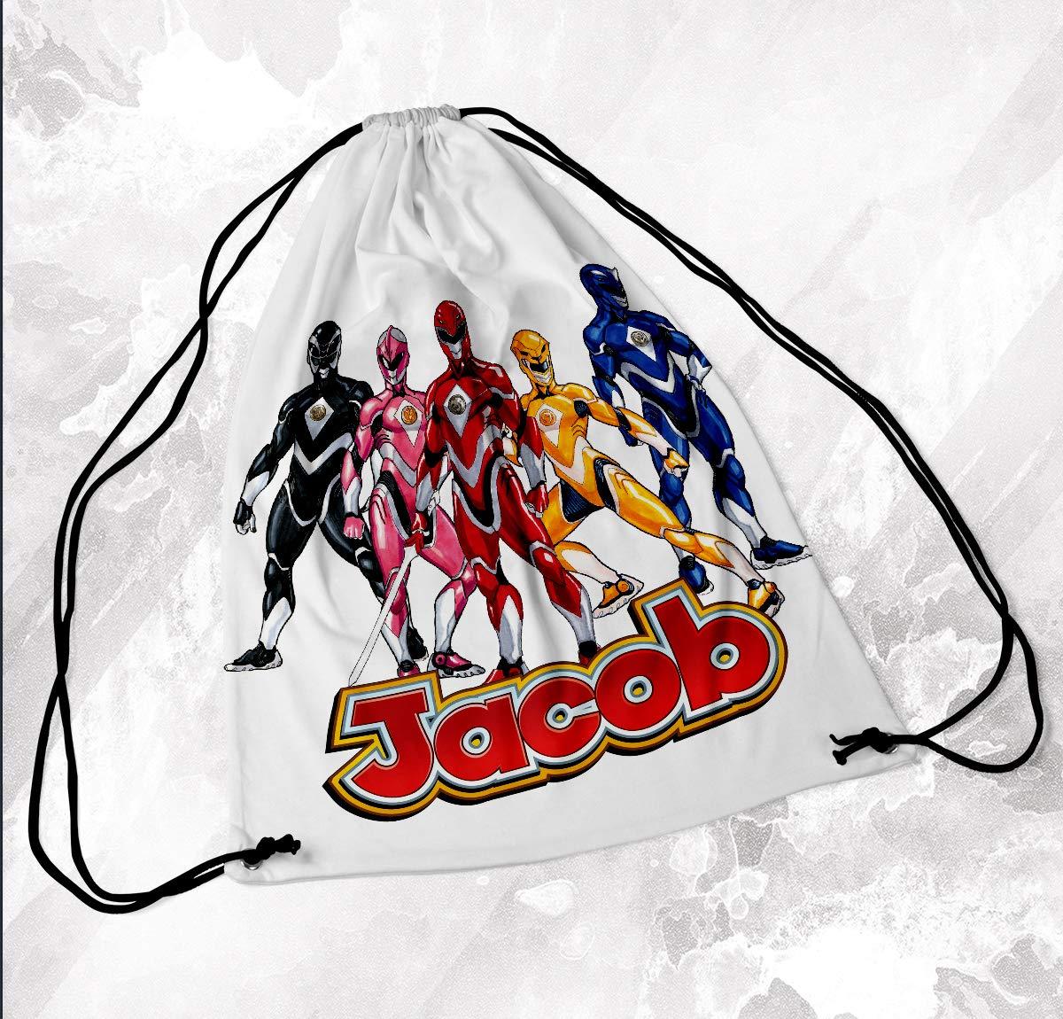 Personalised Drawstring Bag Any Name Power Rangers Swimming School Nursery PE 2