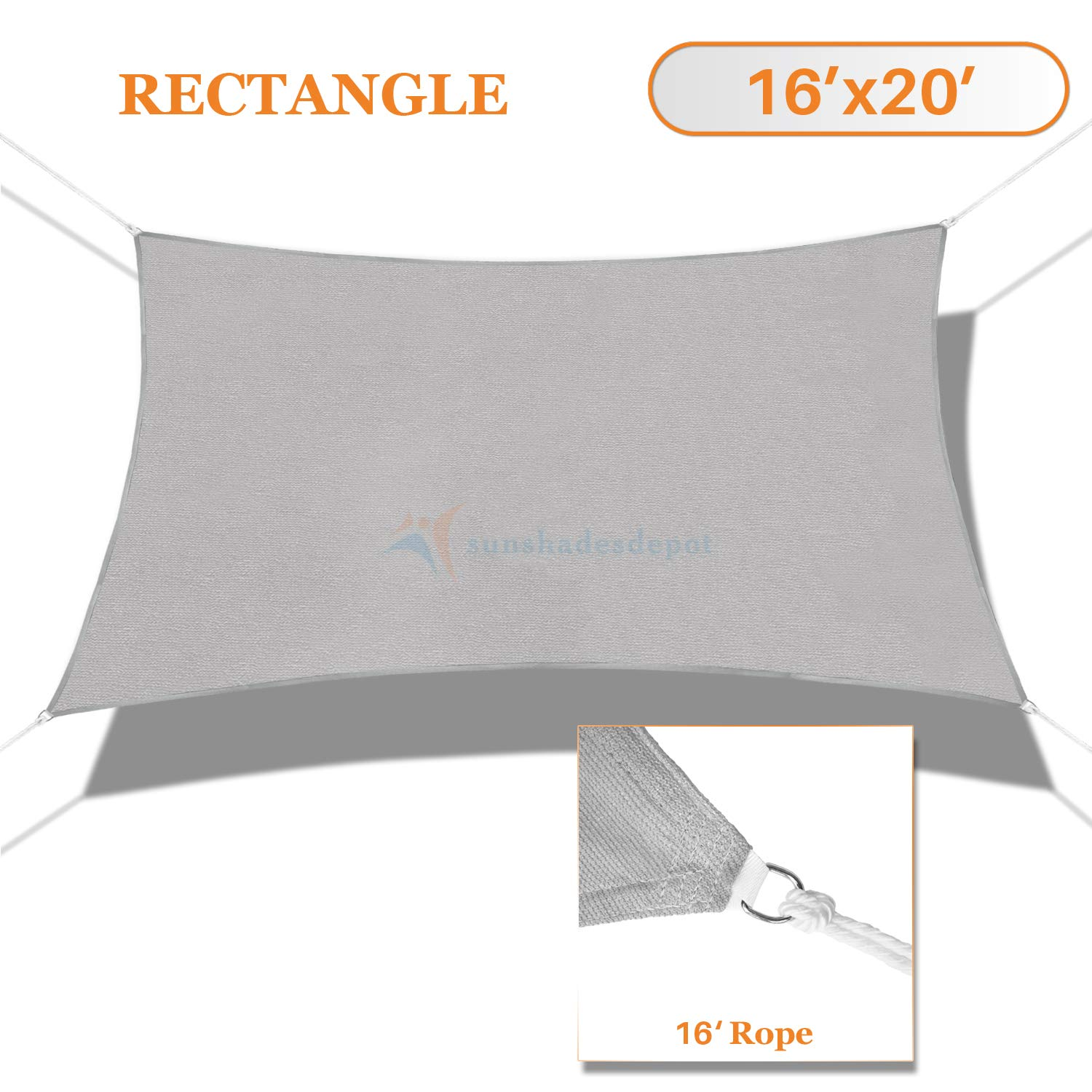 Sunshades Depot 16' x 20' Solid Light Grey Sun Shade Sail Rectangle Permeable Canopy Customize Commercial Standard 180 GSM HDPE
