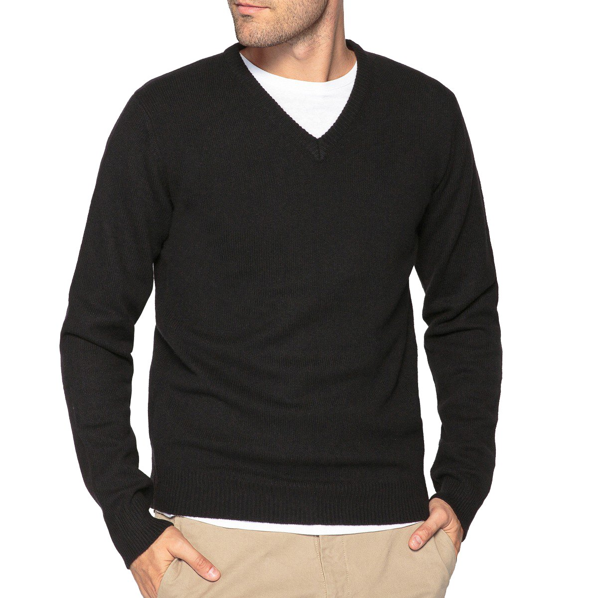 La Redoute Collections Mens Lambswool V-Neck Fine Knit Jumper//Sweater