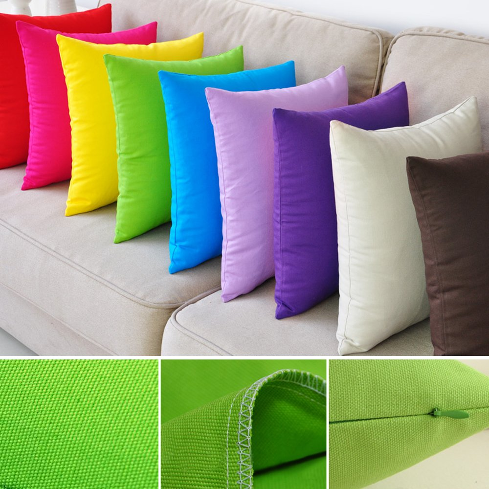 M MOCHOHOME Canvas Decorative Square Solid Throw Pillow Cover Case Pillowcase Cushion Sham - 20'' x 20'', Green
