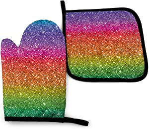 Vosson Glitter Rainbow Oven Mitt & Pot Holders Set Kitchen Heat Resistant Washable for Cookie Baking Grill BBQ Decor Kitchen Gift