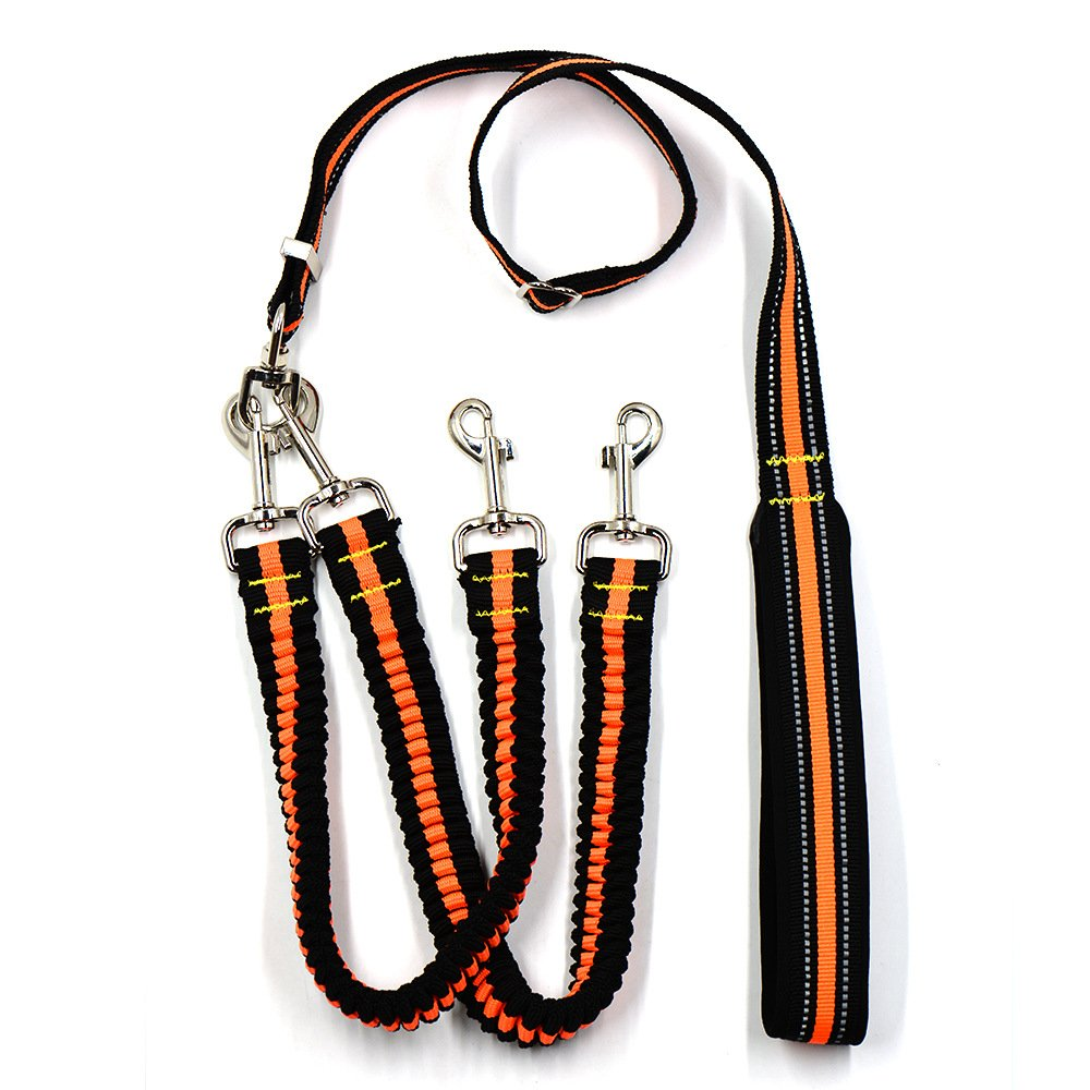 orange YamaziHD Double Dog Leash, 360° Swivel No Tangle Double Dog Leash Coupler & Shock Absorbing Bungee Lead with Padded Handle Reflective Leash for Two Small Medium Large Dogs (orange)