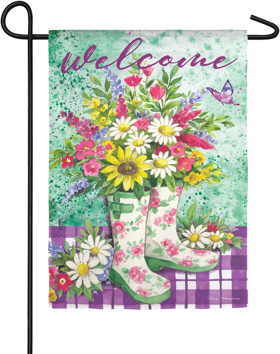 Evergreen Floral Garden Boots Suede Garden Flag