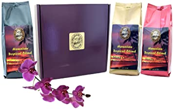 Gift Boxed, Flavored Kona Hawaiian Coffee of the Month Club, Shipped Monthly for Six
