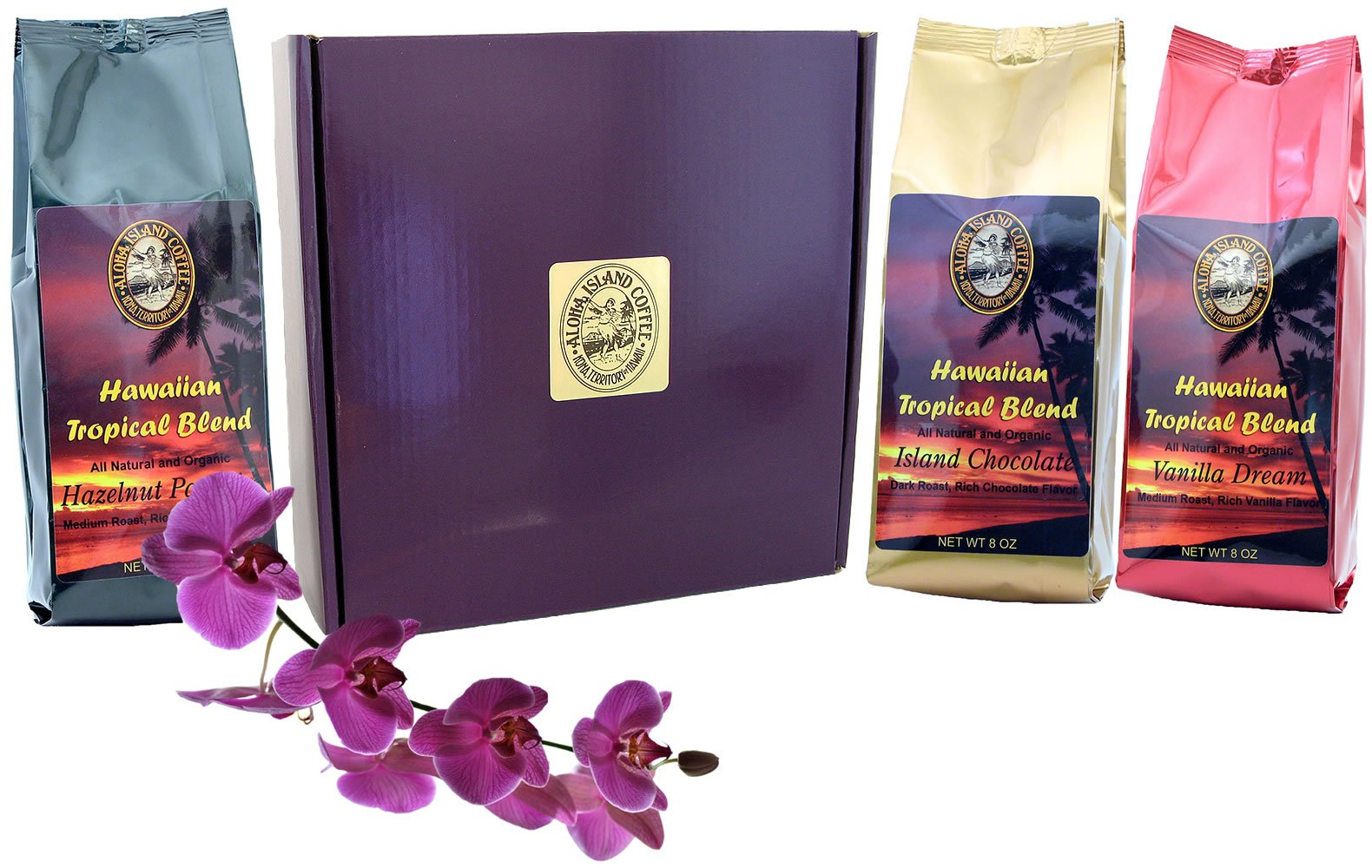 Gift Boxed, Flavored Kona Hawaiian Coffee of the Month Club, Shipped Monthly for Six Months, Best Gift For Coffee Lovers Who Love Flavored Coffee, for Christmas, Mothers Day, and All Occasions