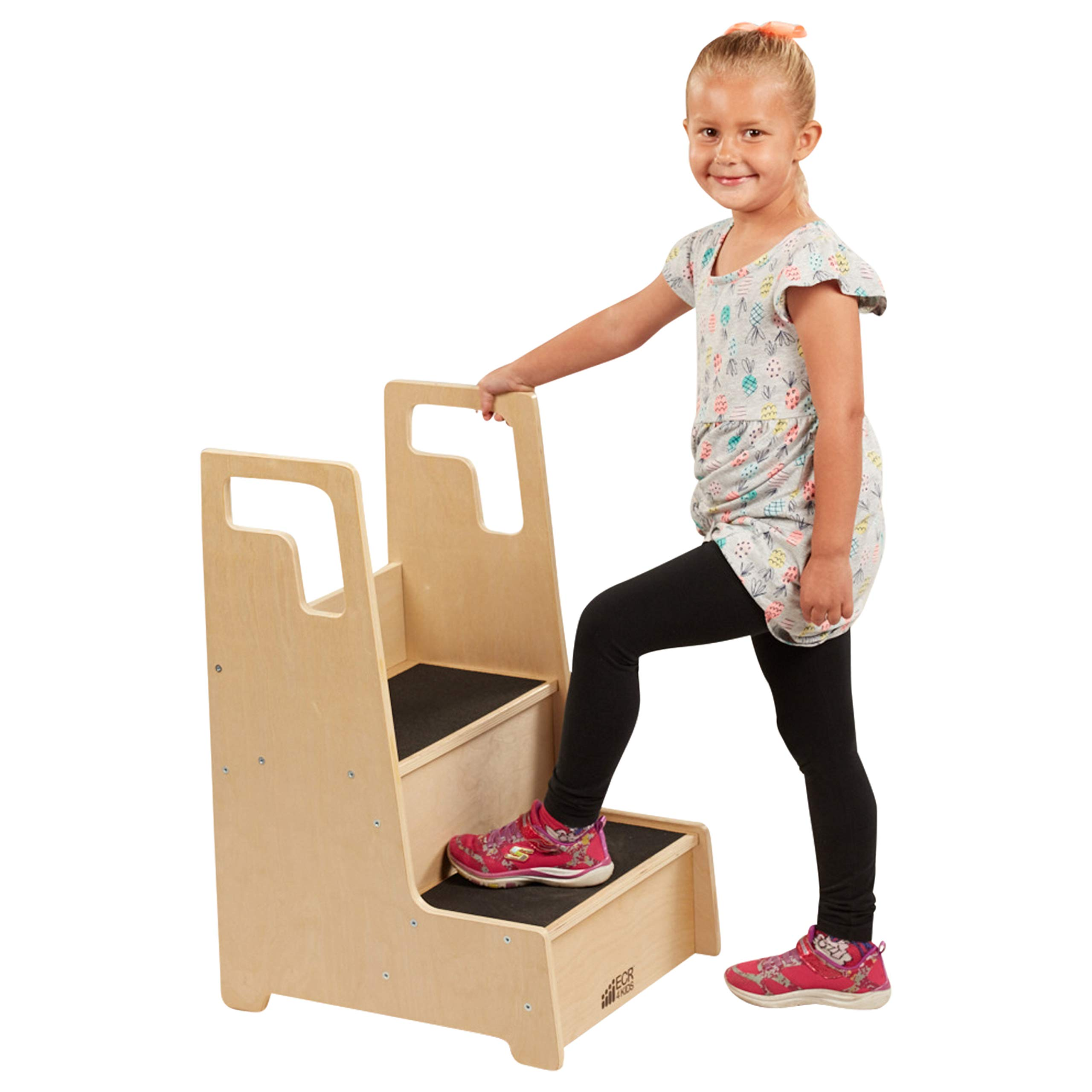 ECR4Kids Reach-Up Step Stool with Support Handles and Non-Slip, Two Step Counter Height Hardwood Stepping Stool for Kids and Toddlers, Natural Finish
