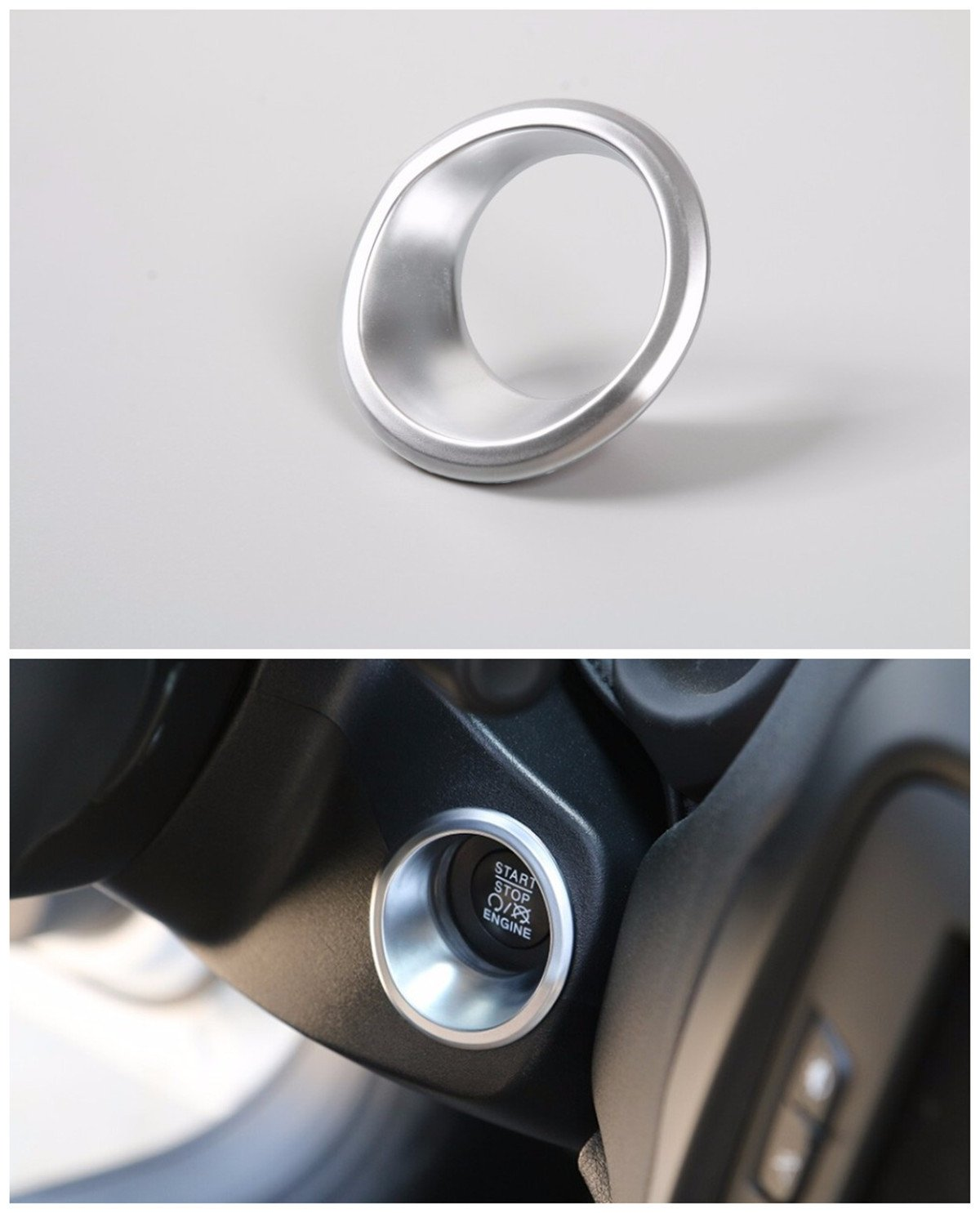 FMtoppeak Silver ABS Outlet Engine Start Stop Push Button Trim Ring Cover for 2014-2018 Jeep Renegade