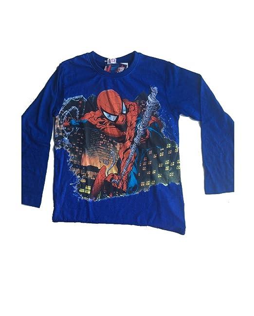 1cb660da Spiderman Maglietta T-Shirt Maniche Lunghe Anni 3/4 / 5/6 / 8/10 ...