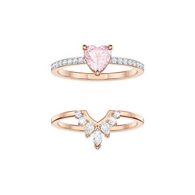 ed8fe02aa Swarovski One Ring Set, Multi-Coloured, Rose Gold Plating: Amazon.co.uk:  Jewellery