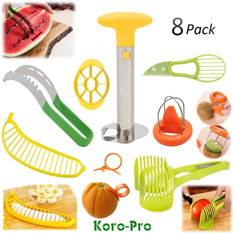Fruit Slicer Peeler Set - Stainless Steel Pineapple Corer, Watermelon Slicer, Plastic Banana Tomato Kiwi Avocado Slicer and Orange Peeler - Kitchen Fruit Tools Kit 8 Pack
