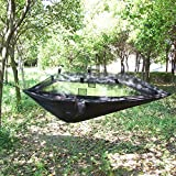 OneTigris Portable & Lightweight Hammock Hanging Bed With Mosquito Net For Outdoor Camping Travel (Carabiners & Ropes Included) (Black)