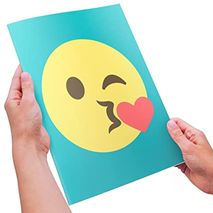 Amazon Com Kissing Emoji Valentines Day Card Super Sized
