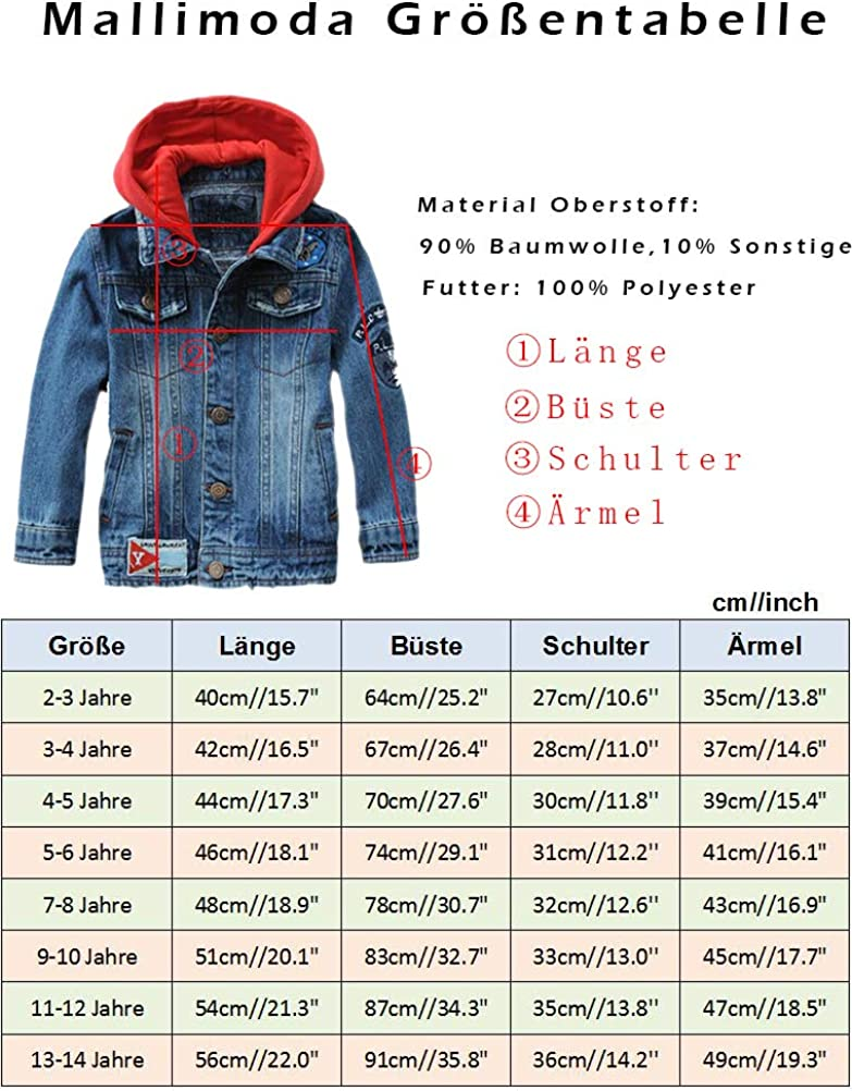 Mallimoda Boys Hooded Denim Jackets Coat Fashion Slim Fit Casual Hood Jean Jackets Tops