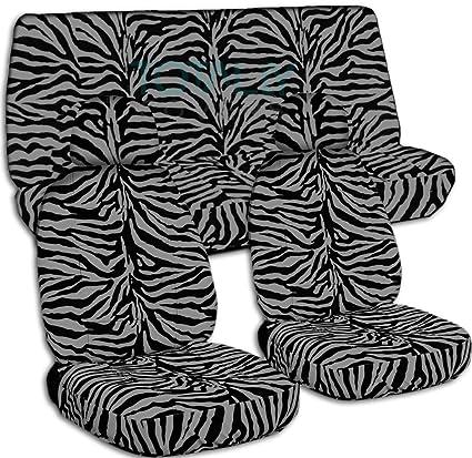 Animal Print Car Seat Covers W 2 Front Headrest Silver Zebra