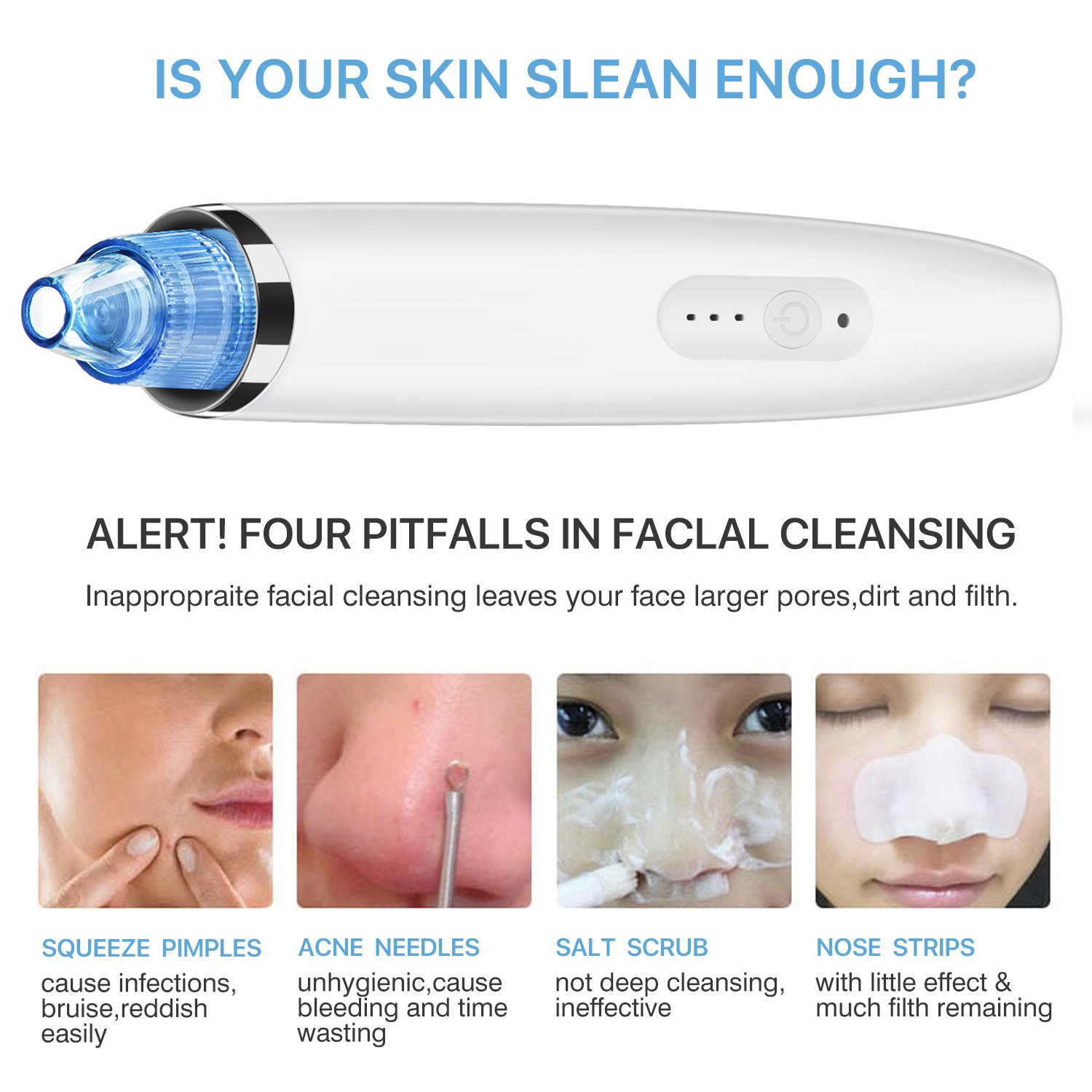 Electric Usb Rechargeable Blackhead Remover Multifunction Facial Pore Cleaner Cleanser Acne Removal Skin Extractor
