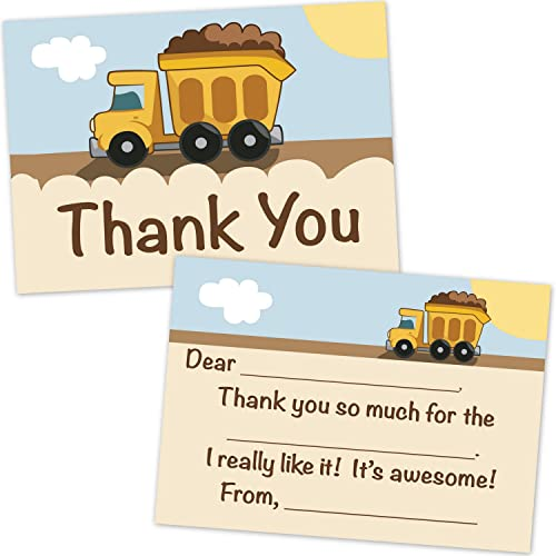 Construction Dump Truck Fill In Thank You Cards for Boys (10 Count with Envelopes)