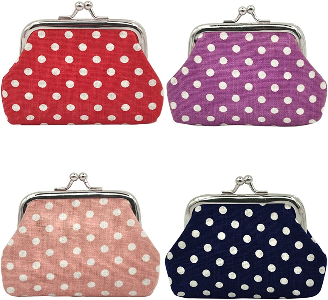 Amazon.com: Oyachic 4 Packs Coin Pouch Canvas Purse Pattern Clasp Closure  Wallet Exquisite Gift 3.5