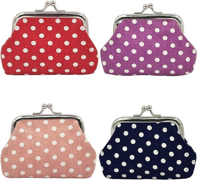 Oyachic 4 paquetes de monedero con cierre Kisslock cambio bolsa pequeña monedero regalo para mujeres niñas 3.5 pulgadas de largo x 7.1 cm de alto