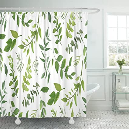 Emvency Shower Curtain Eucalyptus Palm Fern Different Tree Foliage Natural Branches Waterproof Polyester Fabric 72 X
