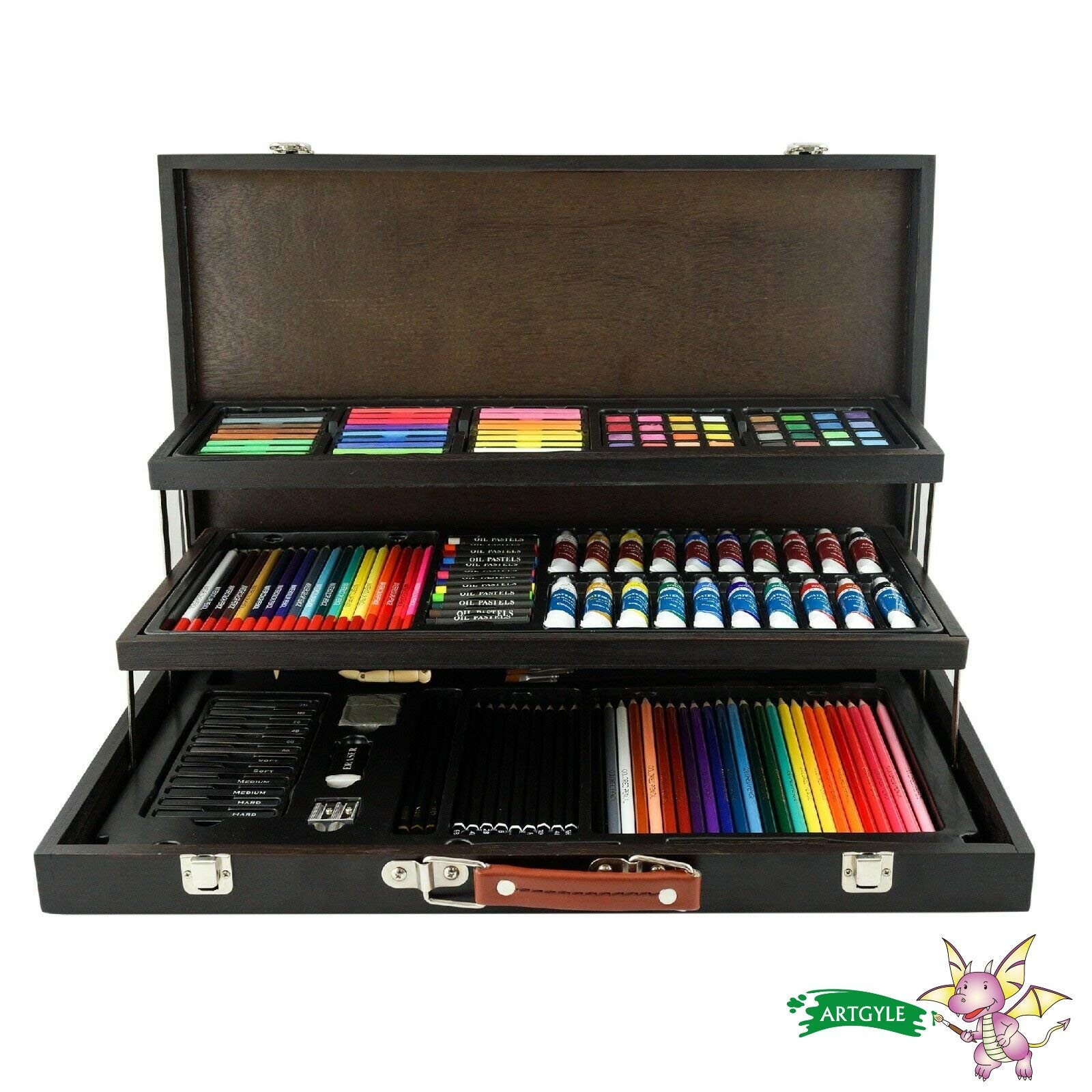 ARTGYLE 180 Piece Mixed Media Art Set in Wooden Box, with with Fundamental Artist Material