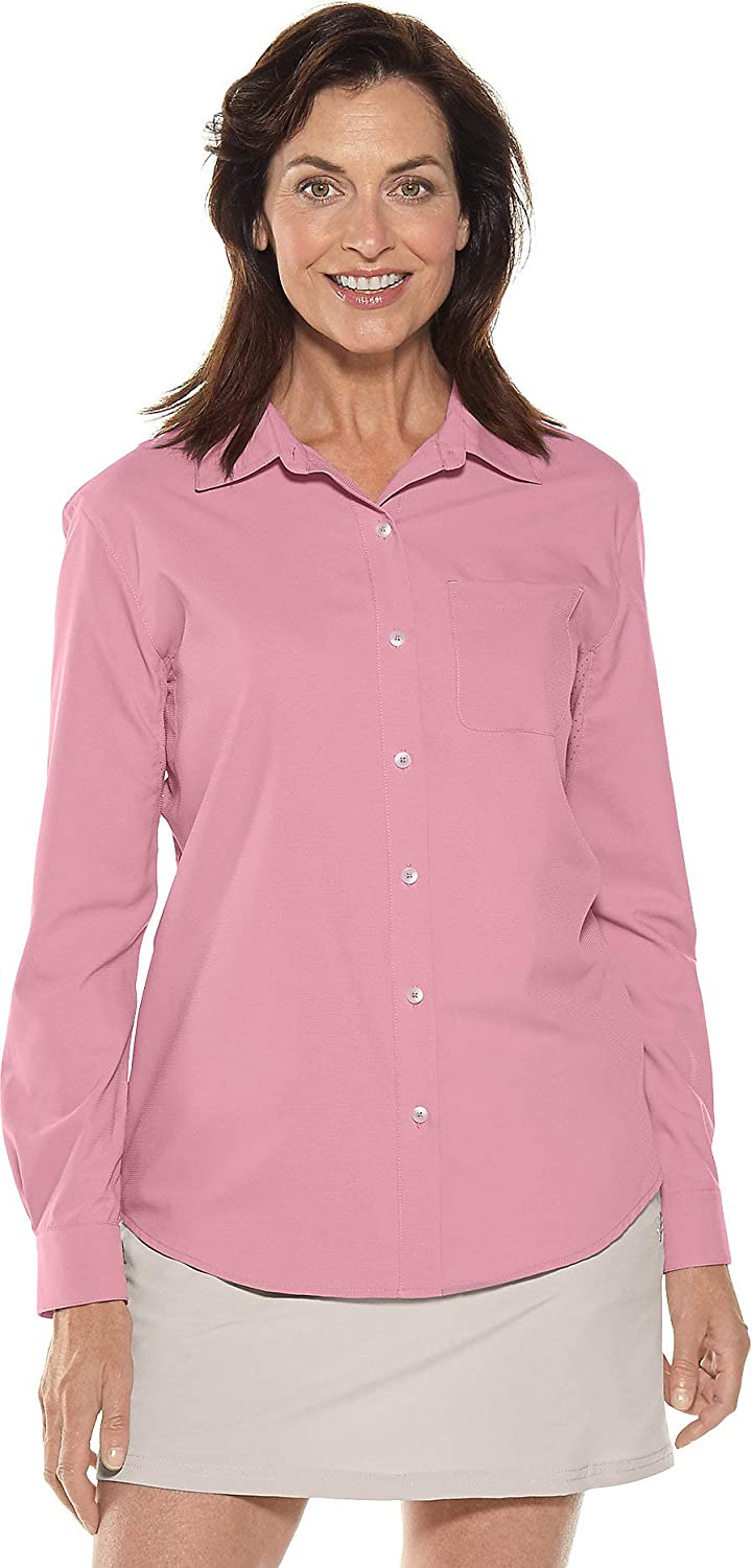 Mauve purplec Coolibar UPF 50+ Women's Sun Shirt  Sun Predective (Large Light Taupe Gingham)