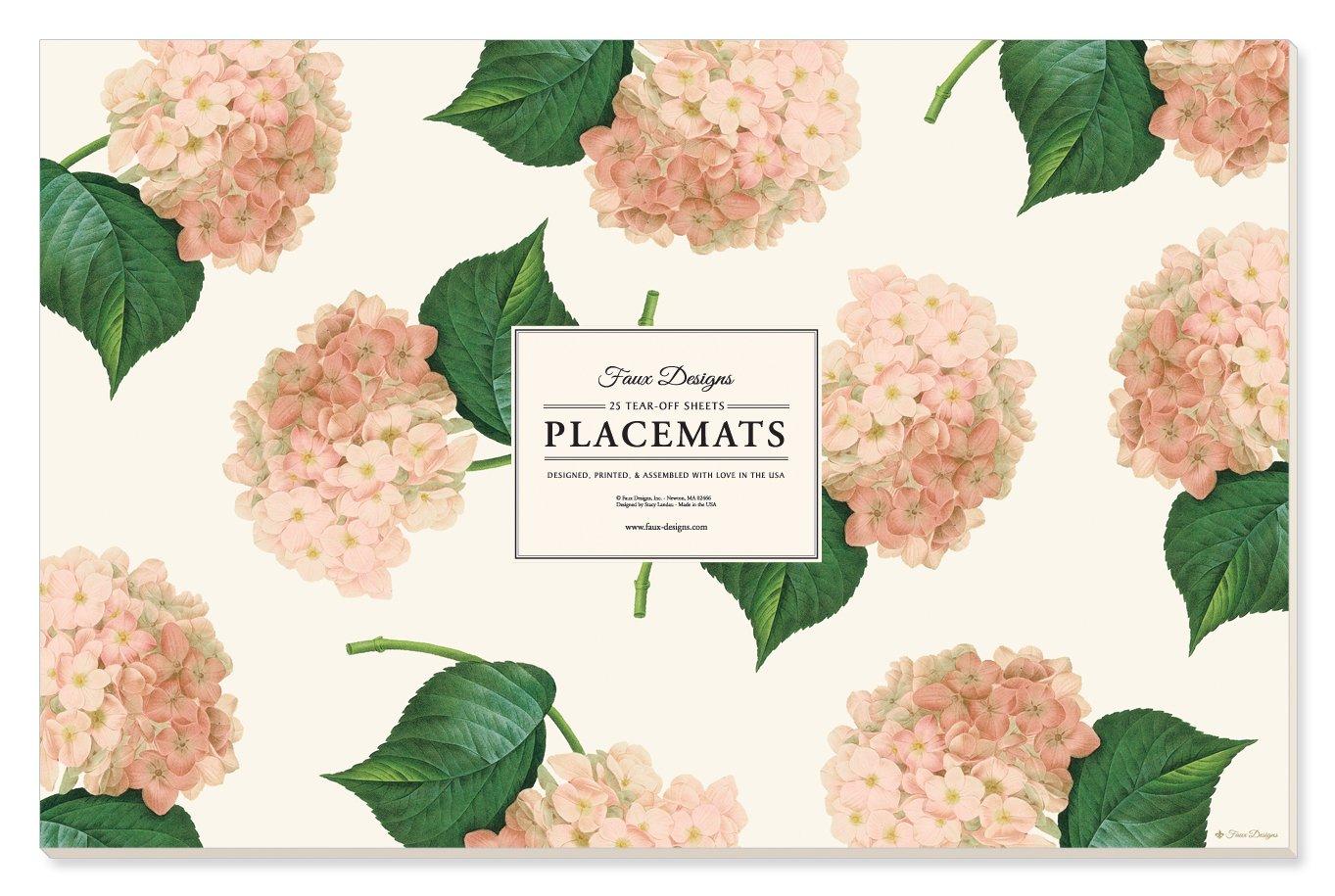 Faux Designs Paper Placemats - Pink Hydrangea