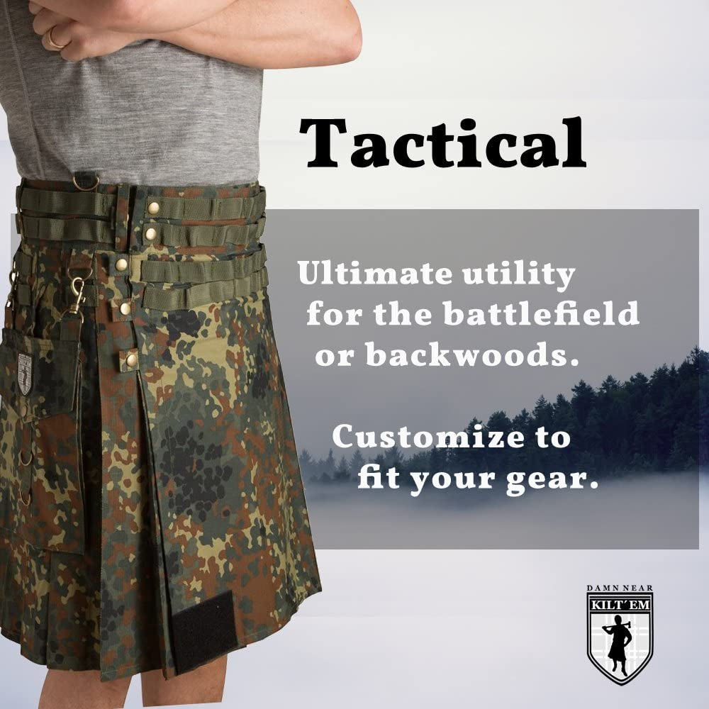Brand new men/'s Green tactical kilt made in cotton
