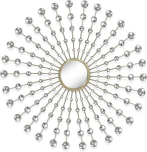 Adeco Decorative Metal Wall Mirror Decoration, Diamond Sunburst Wall Hanging Mirror 28.5×28.5 Inches