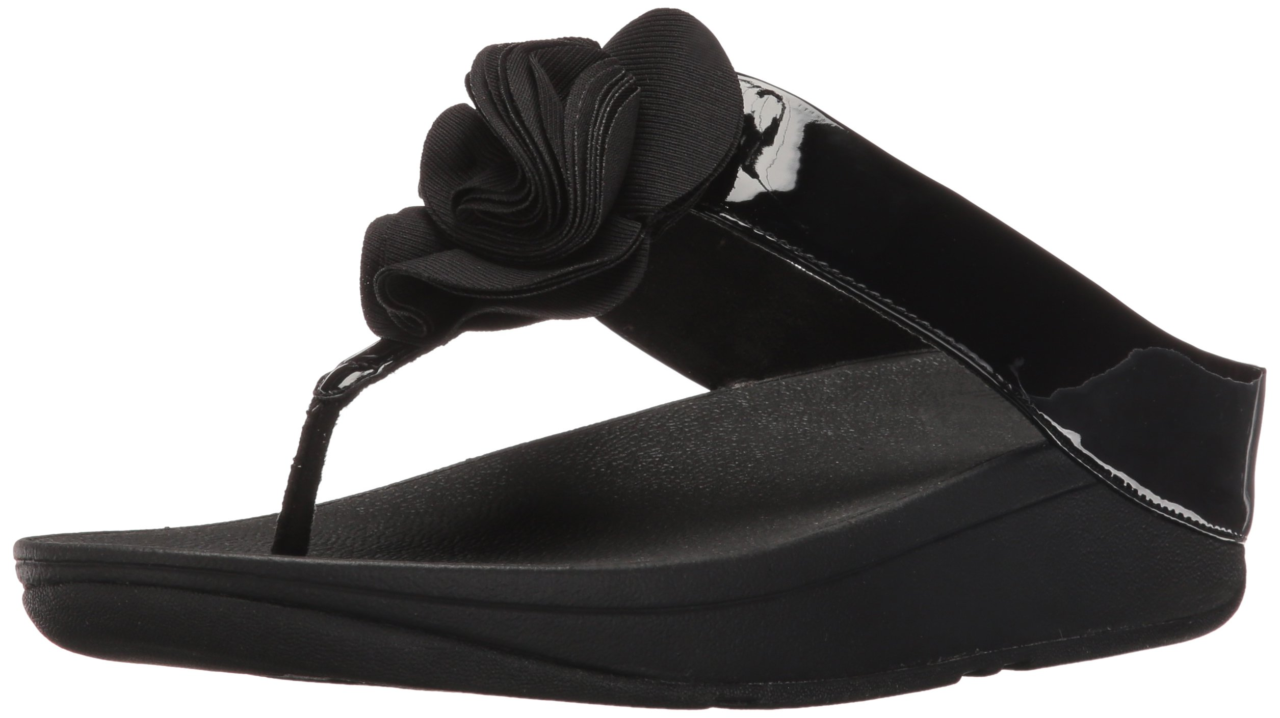 FitFlop Womens Florrie Toe-Thong Sandal, Black Patent, 8 M US
