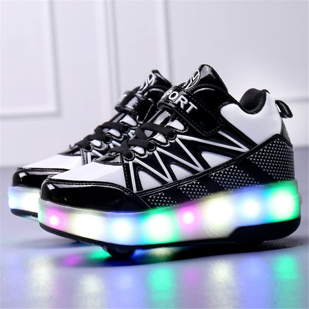 strengths Double Wheels Skate Shoes Roller Glowing Sneakers Boys Girls LED Flashing Light Up Flat Heel Big Kids Outdoor