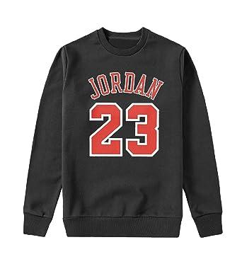 MYMERCHANDISE Jordan 23 Number Basketball Capucha Crewneck Sudadera Sweater Sweatshirt Mens 2XL Black Crewneck: Amazon.es: Ropa y accesorios