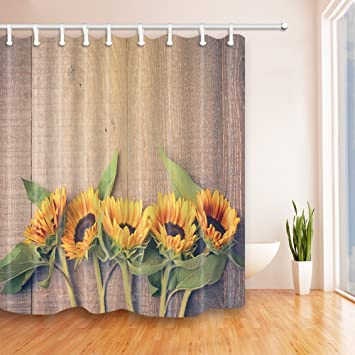 NYMB Flower Decor Sunflower On The Wood Shower Curtain 69X70 Inches Mildew  Resistant Polyester Fabric Bathroom