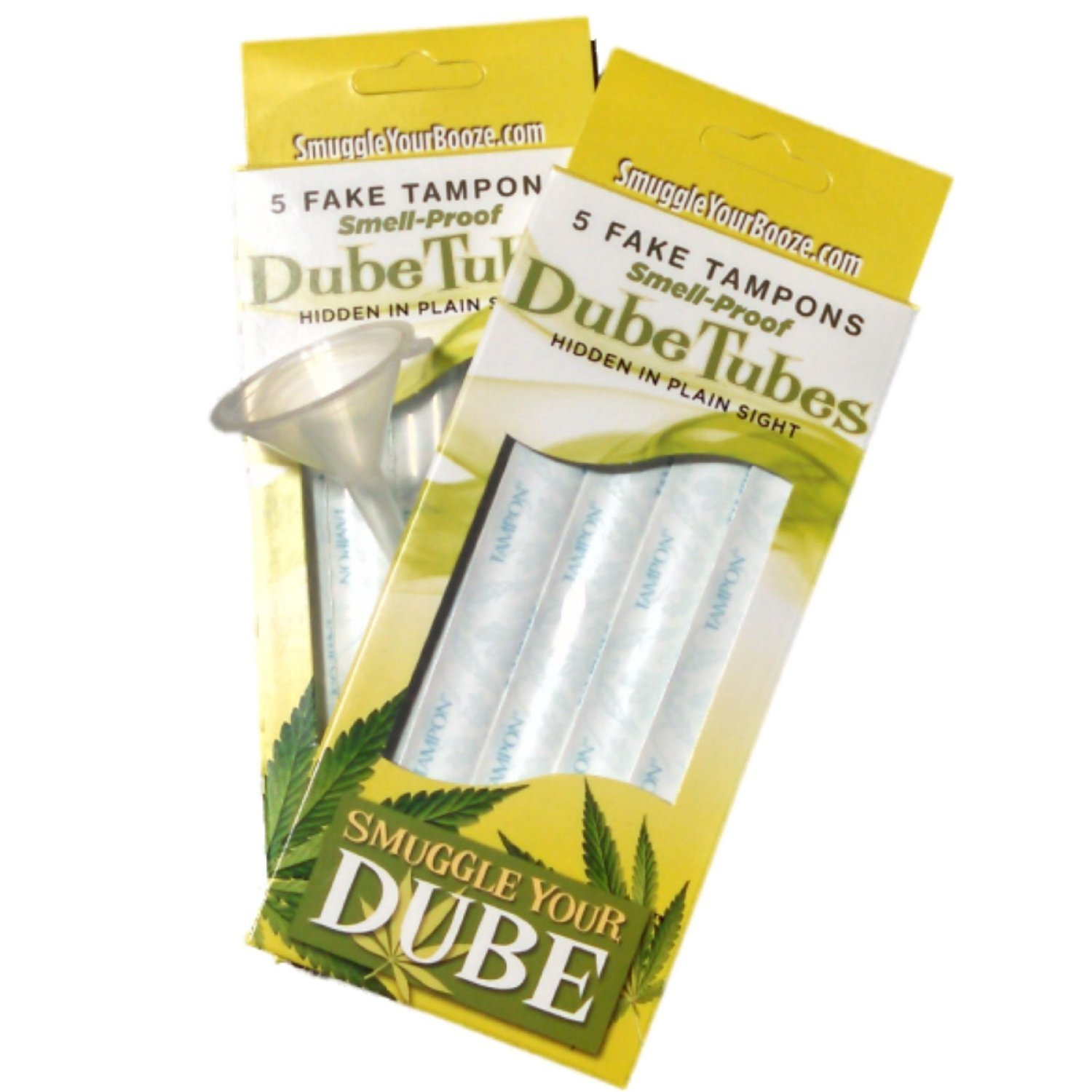 Smuggle Your Booze SYD-DT Smuggle Dube Tubes-Hide in Plain Sight, Smell Proof Fake Tampons with Wrappers. Holds Liquids Too. (2 Pack, Clear)