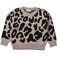 Niños bebé niña niño suéter de Punto de Leopardo Cuello Redondo de Manga Larga Jersey de Cuello Redondo Tops Sudadera…