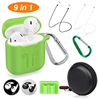 Cuauco AirPods Case Protective Silicone Cover with 2 Anti-Lost Airpods Strap/2 Pairs of Ear Hooks/2 Carabiner/1 Airpods Watch Band Holder/1 Headphone Case for Apple Airpods Accessories (9 Pack)(Green)