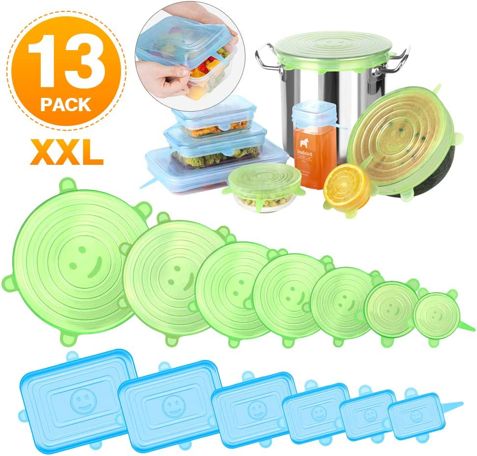 Newdora Tapas de Silicona Elásticas Reutilizables, 13 Piezas (7 Redondas y 6 Cuadradas) Tapas Silicona Ajustables Cocina, Sin BPA, para Lavavajillas, Microondas, Horno o Refrigerador