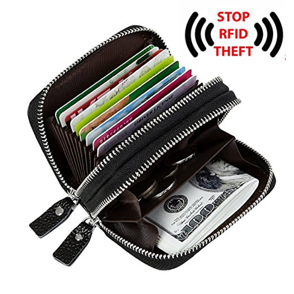 RFID Blocking Genuine Leather Zipper Credit Card Case Wallet for Women (Black)