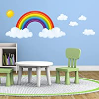 DECOWALL DA-1713 Rainbow and Clouds Kids Wall Stickers Wall Decals Peel and Stick Removable Wall Stickers for Kids…