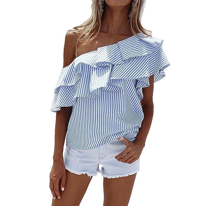 Landove Camisetas de Rayas Mujer Blusas Sin Tirantes Hombros Descubiertos Básica Tops Moda Casual T Shirt