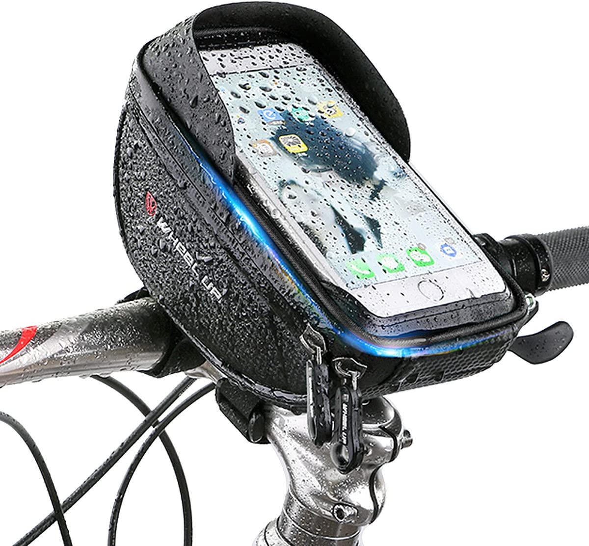 Rehomy Bike Phone Mount Bag, Waterproof Pannier Cycling Front Frame Top Tube Handlebar Bag with Touch Screen Holder Case Pouch for 6.0'' Cellphone
