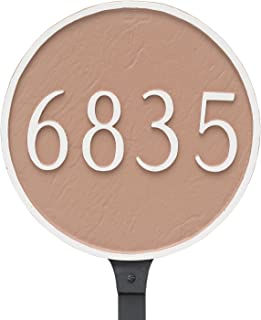 "product image for Montague Metal Circle Address Sign Plaque with Lawn Stake, 18"" x 18"", Brick Red/Silver"