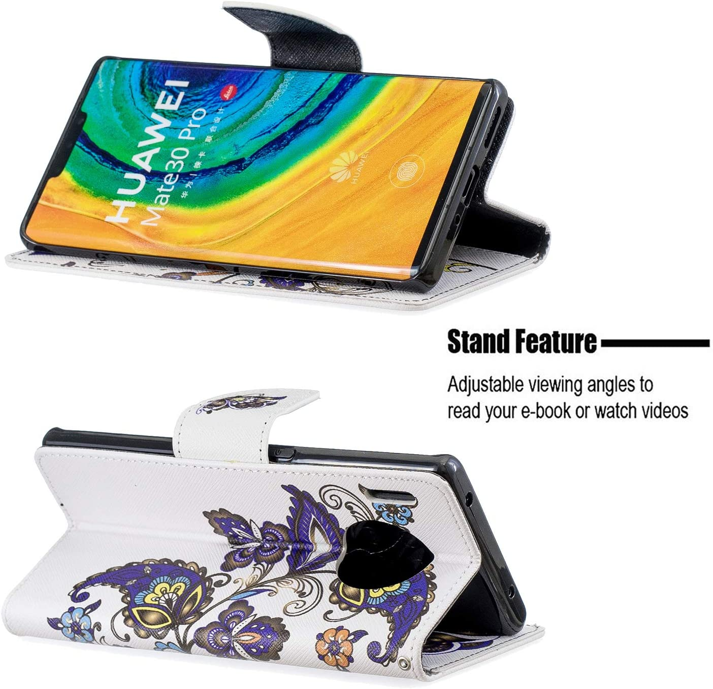 Lomogo Leather Wallet Case for LOBFE090331 L1 Huawei Mate 30 Pro with Stand Feature Card Holder Magnetic Closure Shockproof Flip Case Cover for Huawei Mate30 Pro